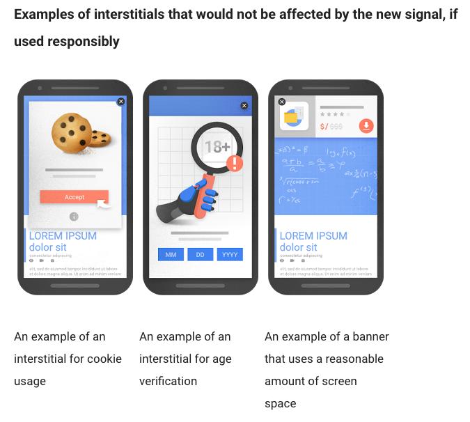 Good Google mobile interstitials