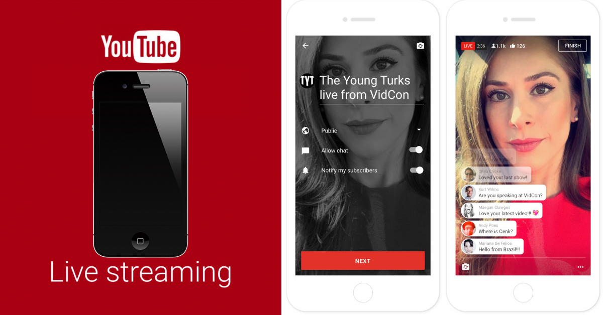 YouTube mobile live streaming