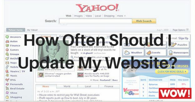 An old Yahoo homepage with the text How Often Should I Update My Website